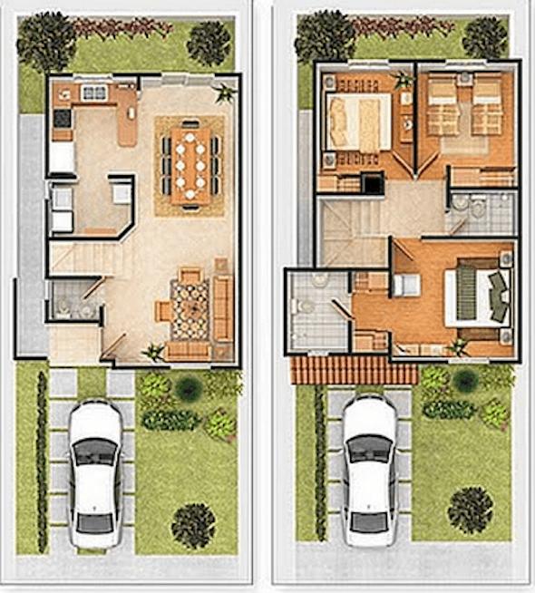 Plantas de casas com 2 pisos 25 modelos ispiradores for Plano casa 2 plantas